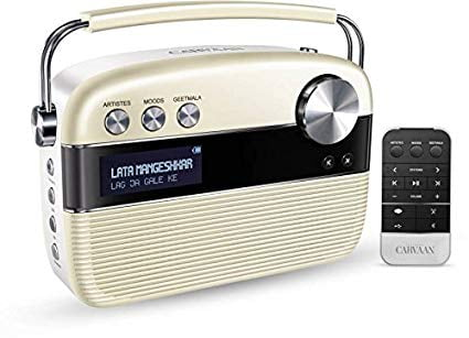 100% Original Saregama Carvaan Hindi 5000 Songs Portable Digital Music Player with Remote (Porcelain White)-7597