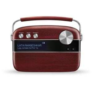 100% Original Saregama Carvaan Hindi 5000 Songs Portable Digital Music Player With Remote(Cherrywood Red)-0