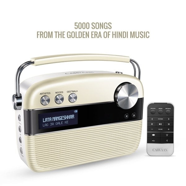 100% Original Saregama Carvaan Hindi 5000 Songs Portable Digital Music Player with Remote (Porcelain White)-0