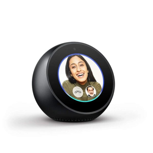 Amazon Echo Spot - Stylish echo with a screen, Make video calls, Voice control your music, news, weather & more - Black-5433
