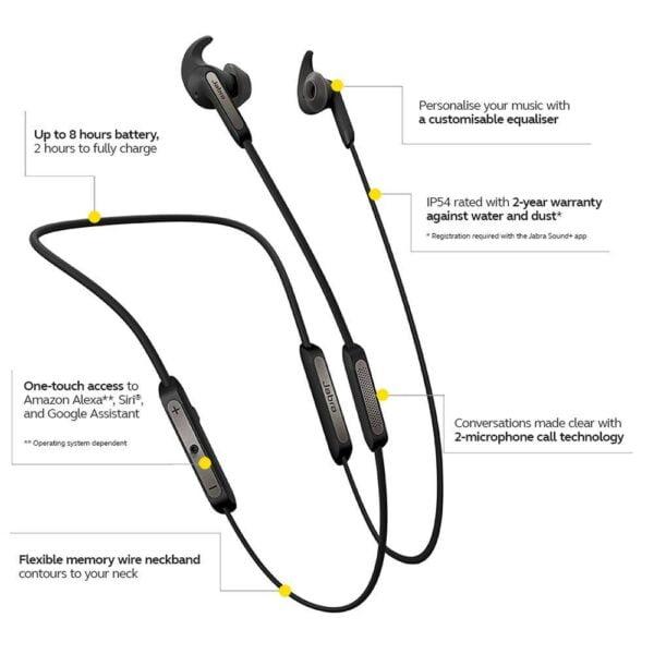 Jabra Elite 45e Wireless Bluetooth in-Ear Headphones (Titanium Black)(Seal Open Only)-5279