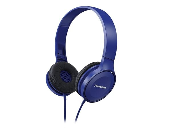 Panasonic On Ear Stereo Headphones RP-HF100-A with Travel-Fold Design, Matte Finish, Blue-0
