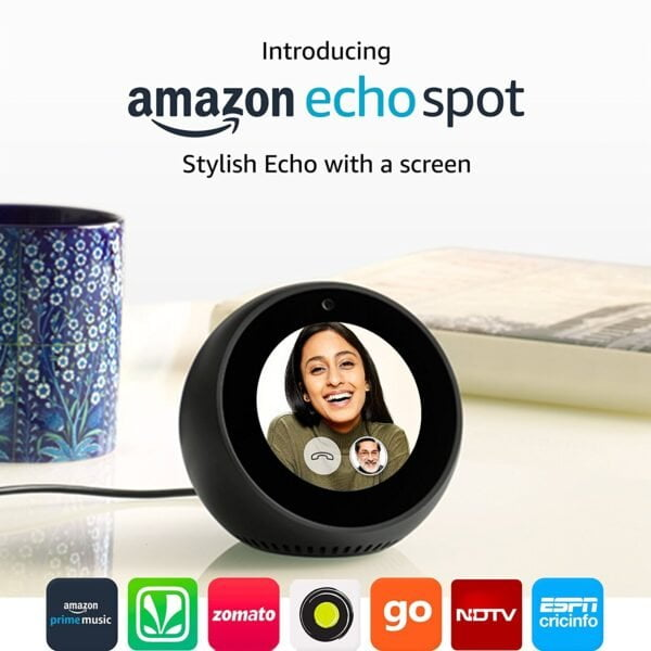 Amazon Echo Spot - Stylish echo with a screen, Make video calls, Voice control your music, news, weather & more - Black-0