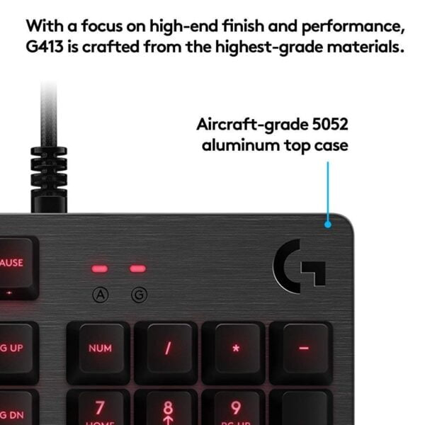 Logitech G413 Backlit Mechanical Gaming Keyboard with USB Pass-Through (Carbon)-5533