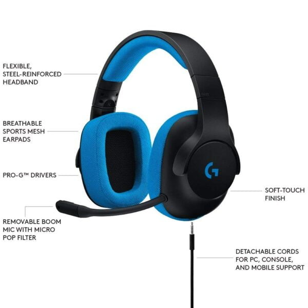Logitech G233 Gaming Headset with Mic (Black and Blue)-5604