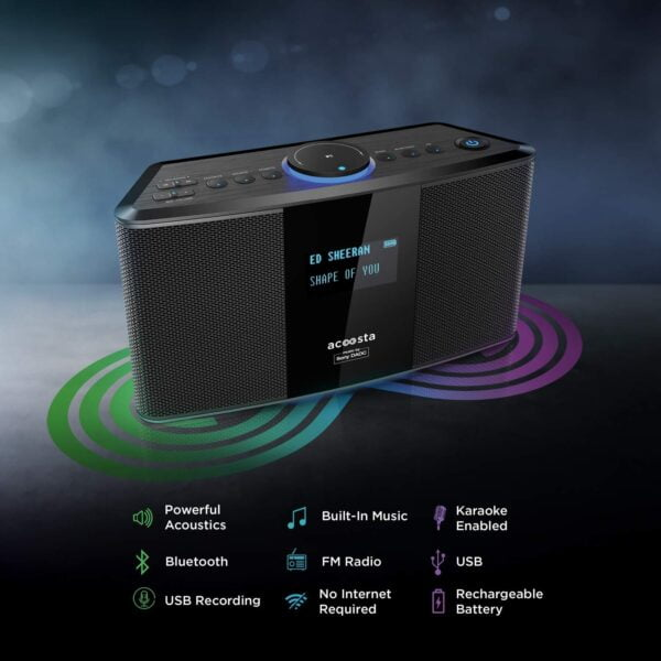 Acoosta Uno ABT-2000PKW/21 High Fidelity Bluetooth Speaker with Built in Music by Sony DADC (Black)-5935