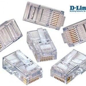 D-Link Plastic Cat 5 RJ 45 Cable Connector - Pack Of 100 Pieces (Transparent)-0
