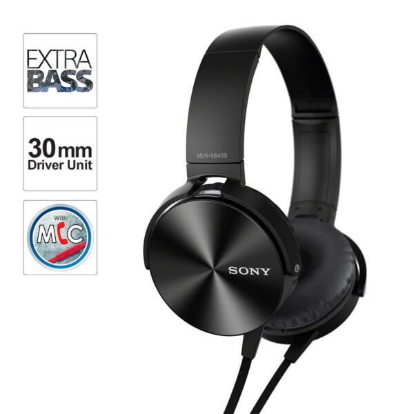 Sony Extra Bass MDR-XB450AP On-Ear Headphones with Mic (Black)-6662
