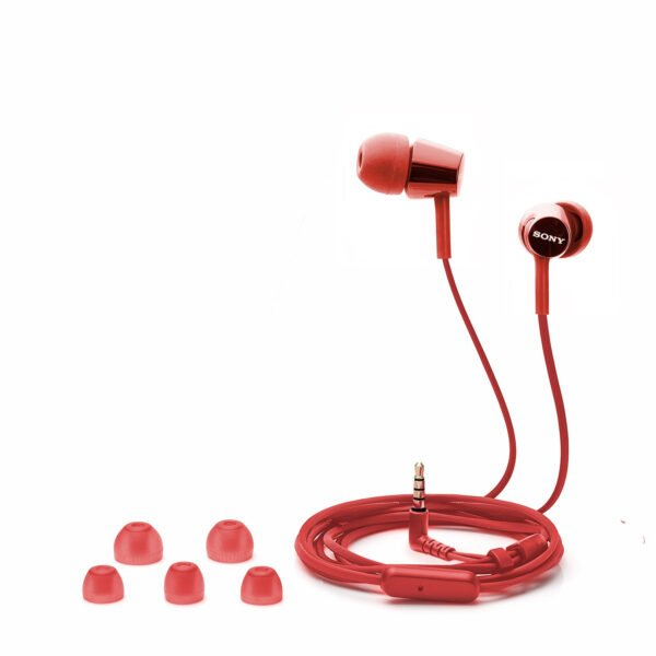Sony MDR-EX155AP in-Ear Headphones with Mic (Red)-6758