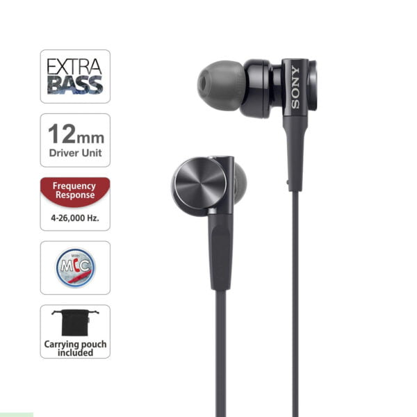 Sony MDR-XB75AP in-Ear Extra Bass Headphones with Mic (Black)-6524