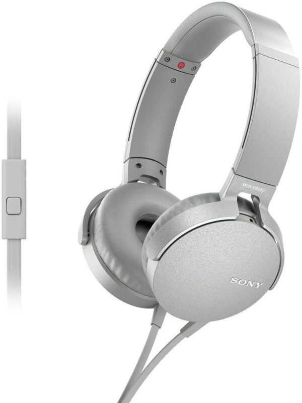 Sony Extra Bass MDR-XB550AP On-Ear Headphones with Mic (White)-0