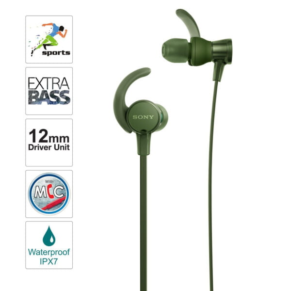 Sony Extra Bass MDR-XB510AS in-Ear Sports Headphones with Mic (Green)-6644