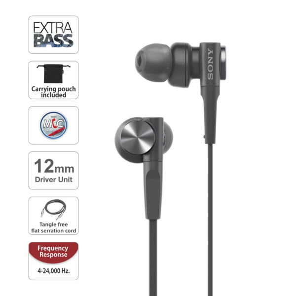 Sony MDR-XB55AP Extra Bass in-Ear Headphone with Mic (Black)-6407