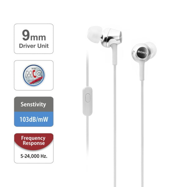 Sony MDR-EX155AP in-Ear Headphones with Mic (White)-6776