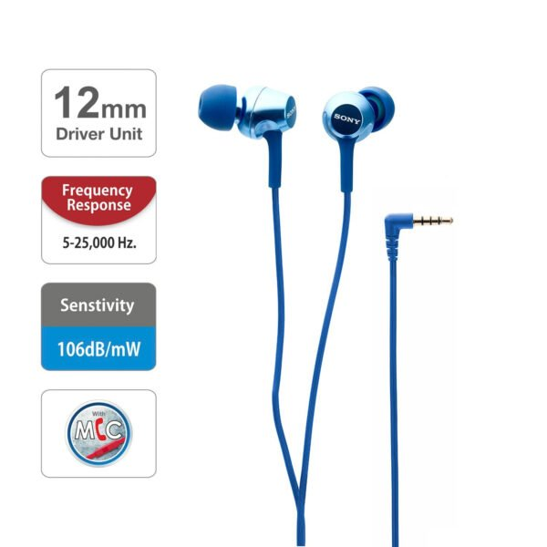 Sony MDR-EX255AP in-Ear Headphones with Mic (Blue)-6722