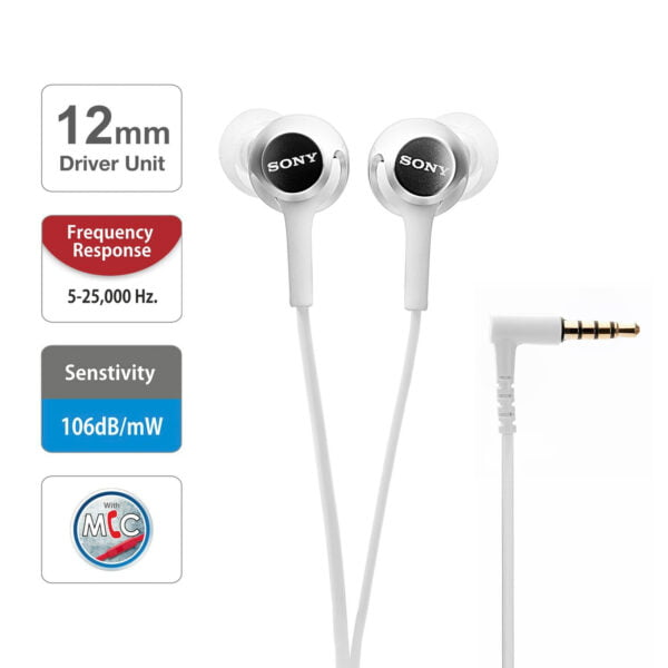 Sony MDR-EX255AP in-Ear Headphones with Mic (White)-6712