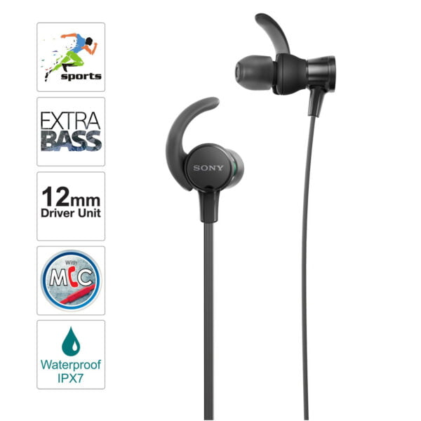 Sony Extra Bass MDR-XB510AS in-Ear Sports Headphones with Mic (Black)-6623