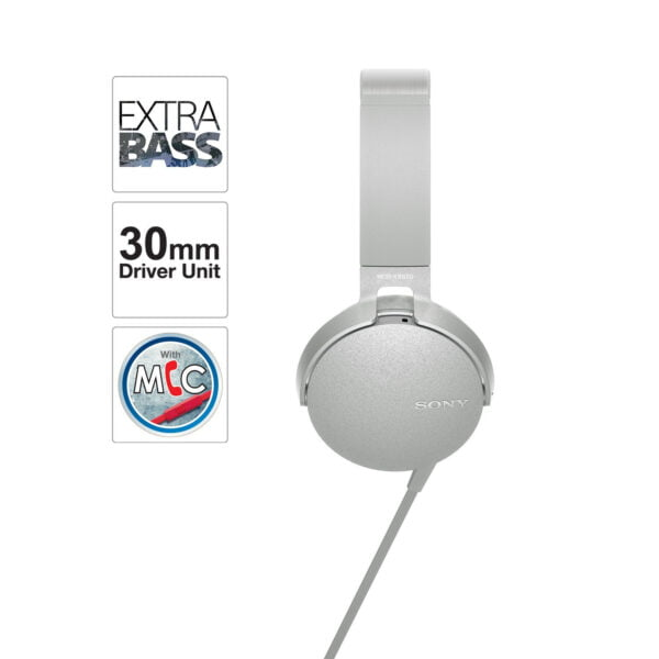 Sony Extra Bass MDR-XB550AP On-Ear Headphones with Mic (White)-6552