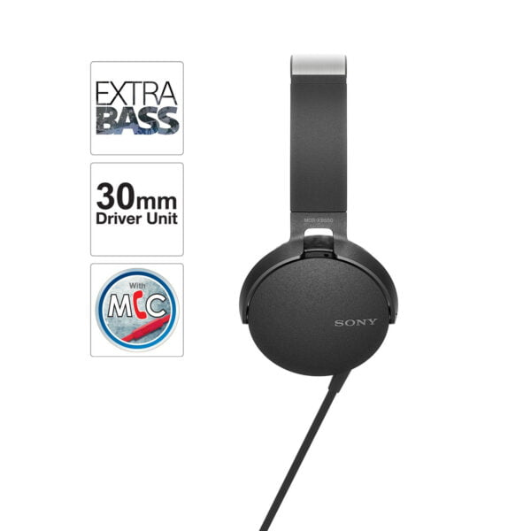Sony Extra Bass MDR-XB550AP On-Ear Headphones with Mic (Black)-6615