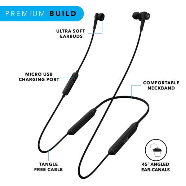 Leaf Collar 2 Wireless Bluetooth Earphones with Mic (Gunmetal Black)-7085