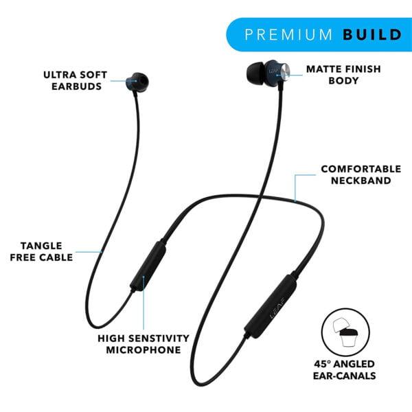 Leaf Collar Wireless Bluetooth Earphones with Mic (Black)-7077