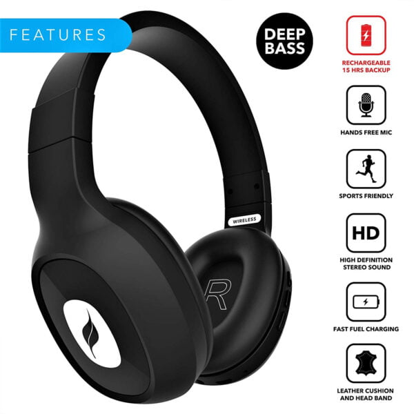 Leaf Bass 2 Wireless Headphones with Mic and 15 Hour Battery Life-7063