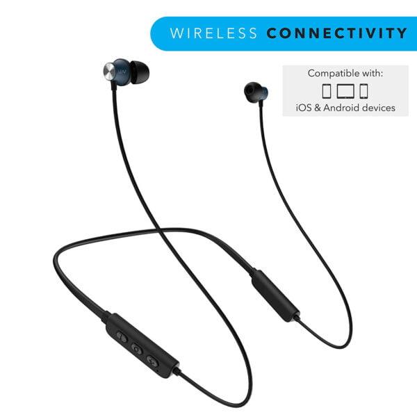 Leaf Collar Wireless Bluetooth Earphones with Mic (Black)-7078