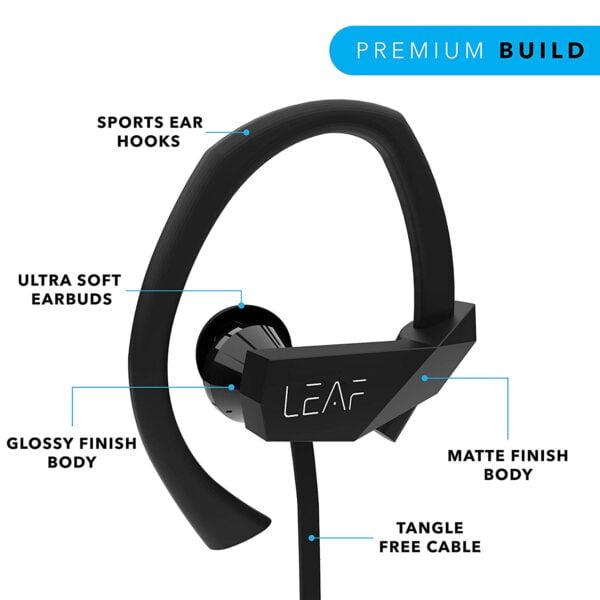 Leaf Sport Wireless Bluetooth Earphone (Black)-7071