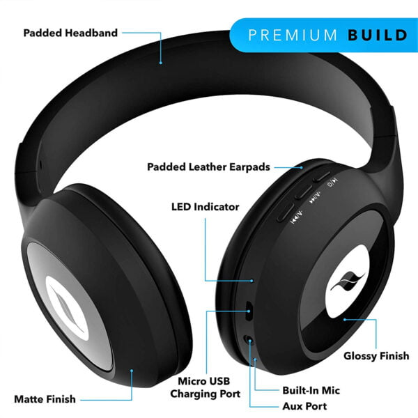 Leaf Bass 2 Wireless Headphones with Mic and 15 Hour Battery Life-7065
