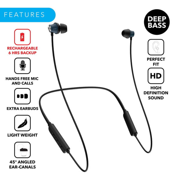 Leaf Collar Wireless Bluetooth Earphones with Mic (Black)-7080