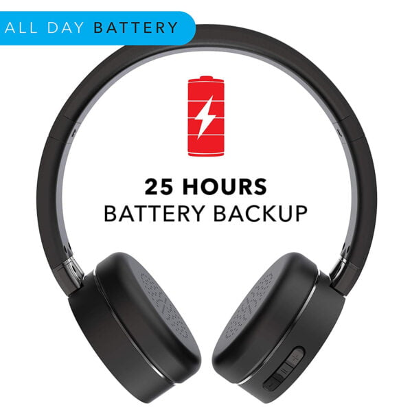 Leaf Force Wireless Bluetooth On Ear Headphones with Mic (Carbon Black)-7153