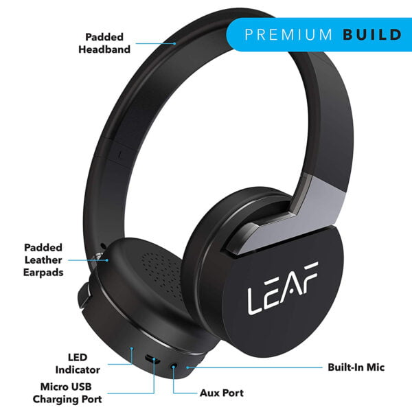 Leaf Force Wireless Bluetooth On Ear Headphones with Mic (Carbon Black)-7150