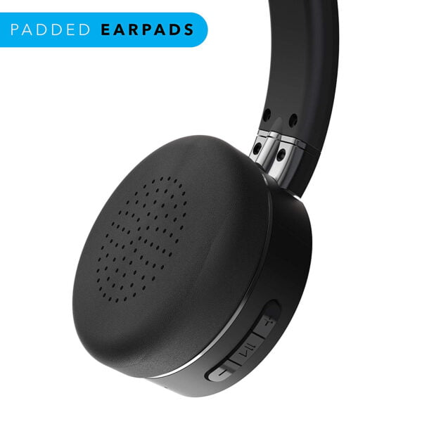 Leaf Force Wireless Bluetooth On Ear Headphones with Mic (Carbon Black)-7151
