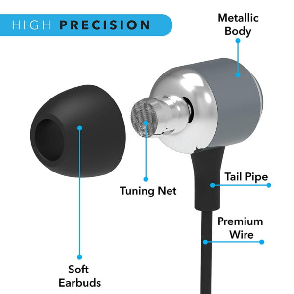 Leaf Metal Wired Earphones with Mic and Inline Remote (Gunmetal)-7108