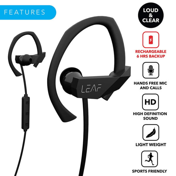 Leaf Sport Wireless Bluetooth Earphone (Black)-7072