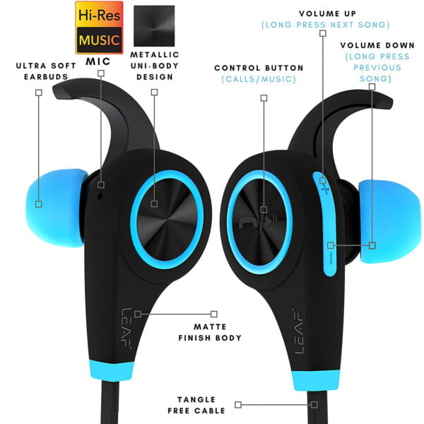 Leaf Ear Wireless Bluetooth Earphones with Mic and Deep Bass (Cool Blue)-7125