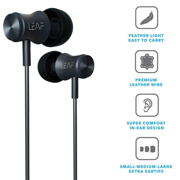 Leaf Bolt Wired Earphones (Gun Metal Black)-7098