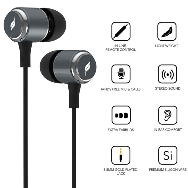 Leaf Metal Wired Earphones with Mic and Inline Remote (Gunmetal)-7111