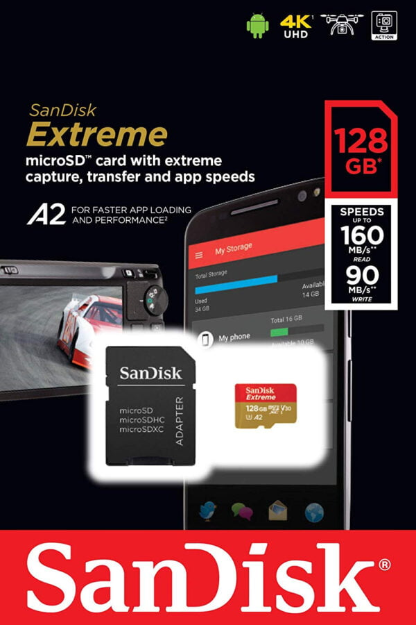 SanDisk Extreme microSDXC SDSQXA1 128GB, U3, C10, V30, UHS 1, 160MB/s R, 90MB/s W, A2 Card for 4K Video Rec on Smartphones, Action Cams & Drones,-7688