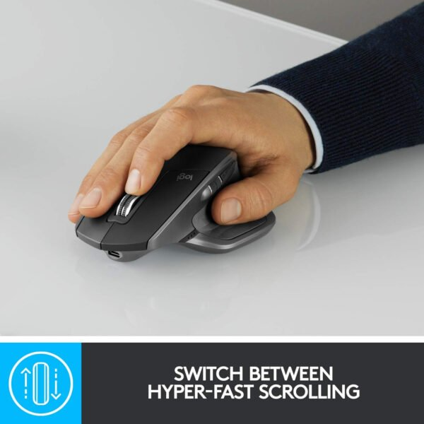 Logitech MX Master 2S Wireless Mouse with FLOW Cross-Computer Control and File Sharing for PC and Mac (910-005131)-7691