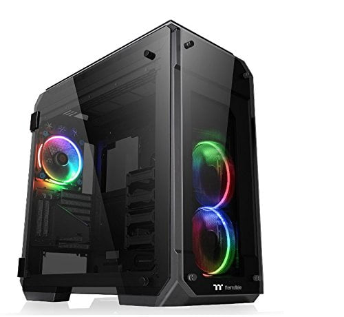 Thermaltake 71 RGB 4 Sided Tempered Glass GPU Modular E ATX Gaming Full Tower Computer Case with 3 RGB LED Ring Fan Pre-Installed CA 1I7 00F1WN 01-0
