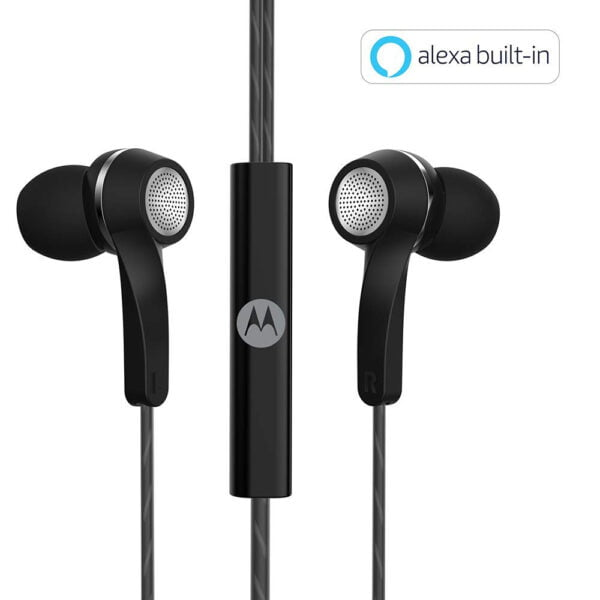 Motorola Pace 120 Single Row Wired Earphones with Mic and Volume Control (Black)-0