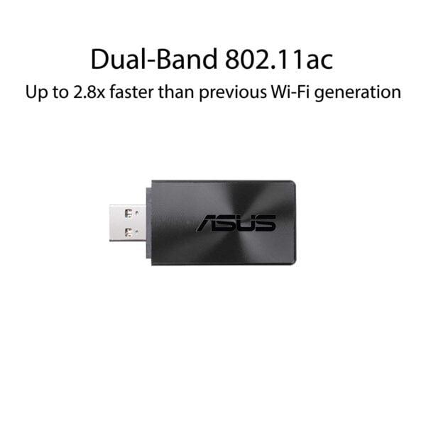 ASUS USB-AC55 B1 AC1300 Dual Band Wireless USB Adapter (Black)-8712