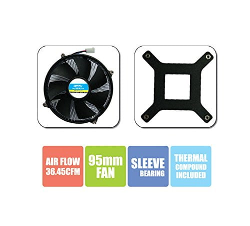 Zebronics CPU Cooling Fan For Socket LGA 775 Cooler (Black)-8773