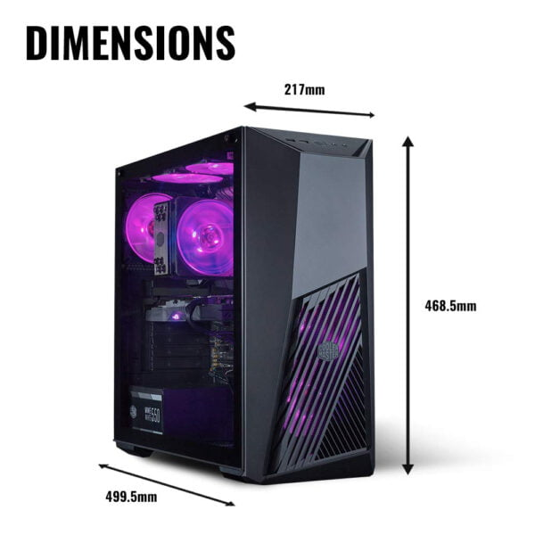Cooler Master MasterBox K501L RGB Mid Tower Gaming Cabinet with Pre-Installed Fans and Tempered Glass Side Panel-9024