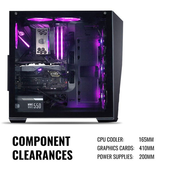 Cooler Master MasterBox K501L RGB Mid Tower Gaming Cabinet with Pre-Installed Fans and Tempered Glass Side Panel-9027