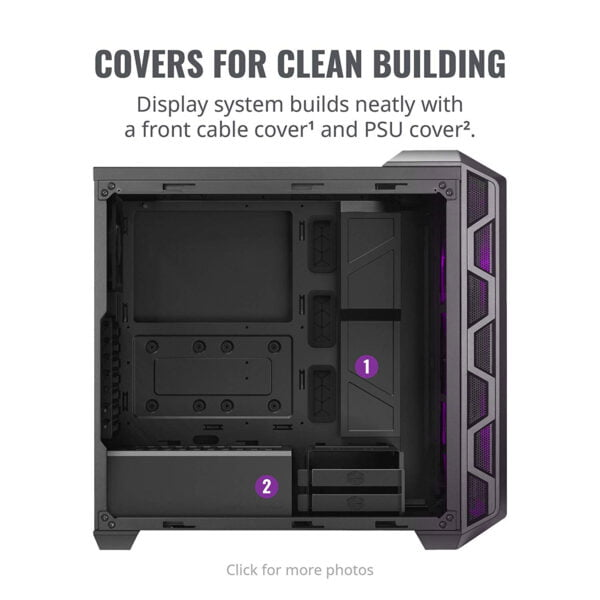 Cooler Master MasterCase H500 ATX Mid-Tower, Tempered Glass Panel, Two 200mm RGB Fans with Controller and Case Handle for Transport Cabinet-8982