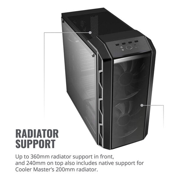 Cooler Master MasterCase H500 ATX Mid-Tower, Tempered Glass Panel, Two 200mm RGB Fans with Controller and Case Handle for Transport Cabinet-8983