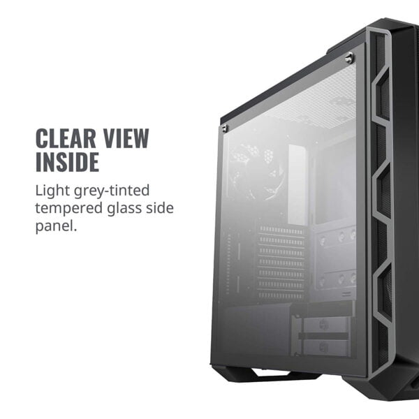 Cooler Master MasterCase H500 ATX Mid-Tower, Tempered Glass Panel, Two 200mm RGB Fans with Controller and Case Handle for Transport Cabinet-8985