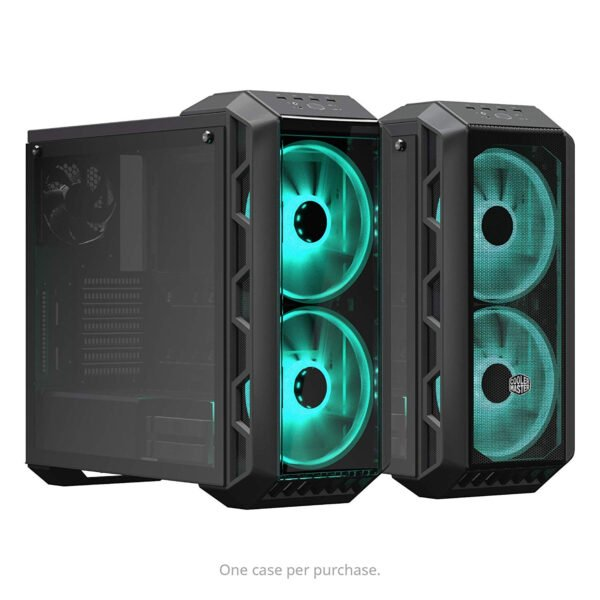 Cooler Master MasterCase H500 ATX Mid-Tower, Tempered Glass Panel, Two 200mm RGB Fans with Controller and Case Handle for Transport Cabinet-8987